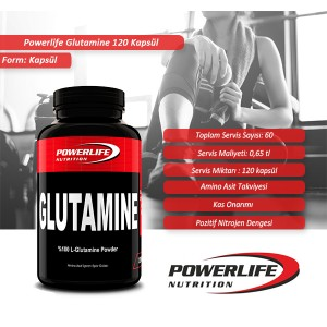 POWERLIFE Glutamine 120 Kapsül
